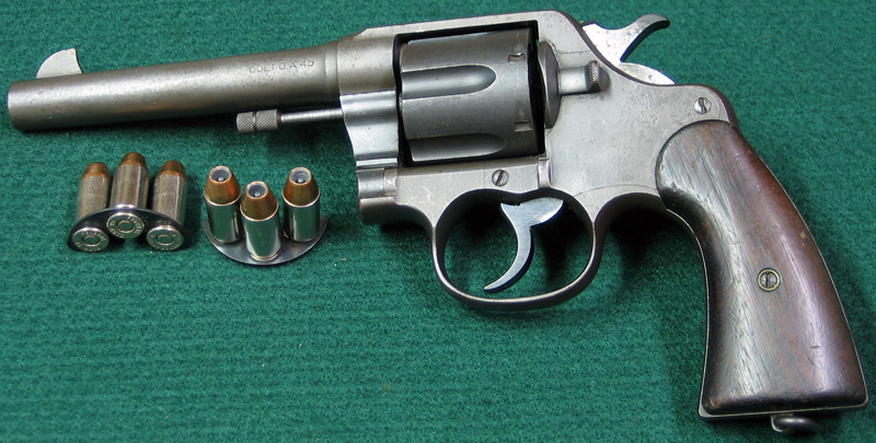 Colt Model 1917 Army New Service Model 45 ACP double action revolver (ammo is in half moon clips). (Photo © Russ Chastain)