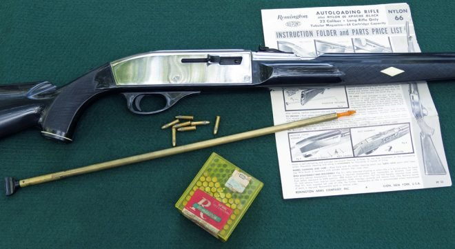Remington Nylon 66 with mag follower tube, ammo, and owner's manual. (Photo © Russ Chastain)