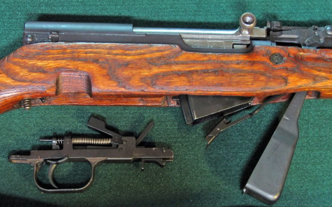 SKS trigger group out, magazine open. (Photo © Russ Chastain)