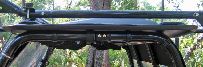 The Big Sky Sky Bar rack keeps guns up out of the way. (Photo © Russ Chastain)