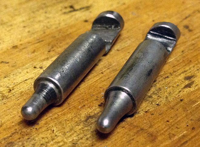 Homemade firing pin on the right, factory pin on the left. (Photo © Russ Chastain)