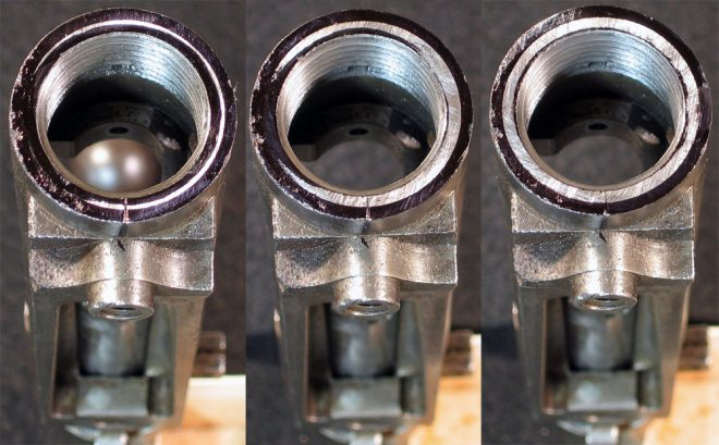 """Facing the front of the receiver to ensure proper mating with the new Adams & Bennett Series 2, F14 contour, 21"""" chrome moly barrel with 1 in 9.5"""" twist. (Photo © Russ Chastain)"""
