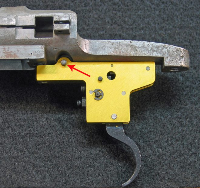 I used a new Timney trigger, and had to re-use that original trigger pin. (Photo © Russ Chastain)
