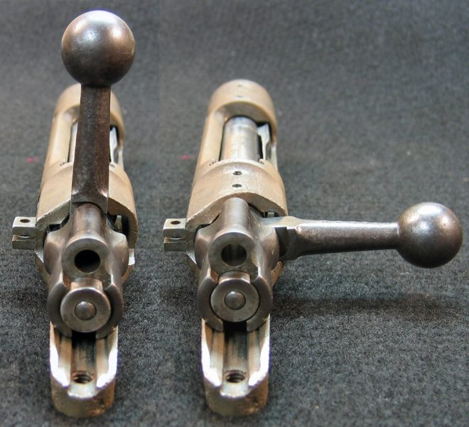 The original straight bolt handle would have interfered with scope mounting... plus it requires more hand movement to cycle the bolt. (Photo © Russ Chastain)