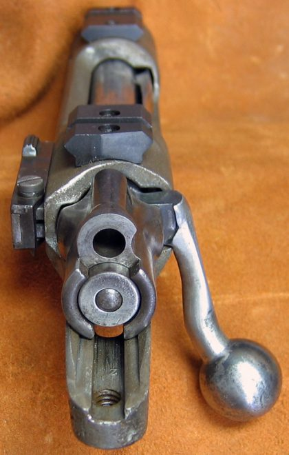 After inletting the stock for the bolt handle, the ball is the only thing that protrudes when the bolt is closed -- and when opened, the handle clears the scope. (Photo © Russ Chastain)