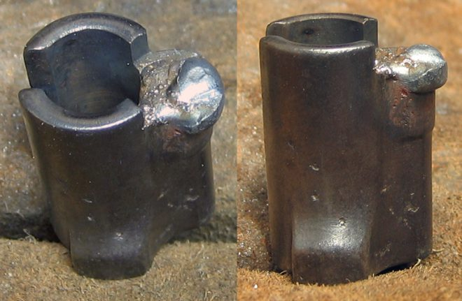 I used a welder to fill up the hole for the old safety. (Photo © Russ Chastain)