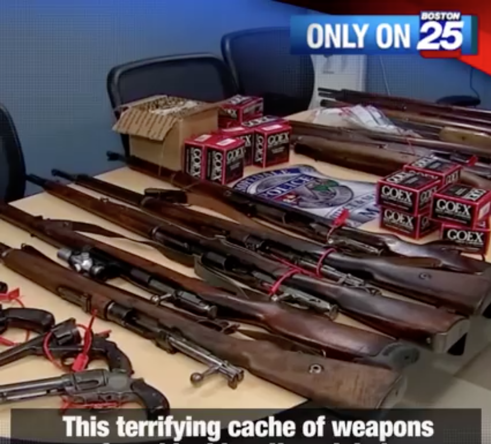"""Watch: Boston News Freaks Out at """"Terrifying Cache"""" of Antique Weapons"""