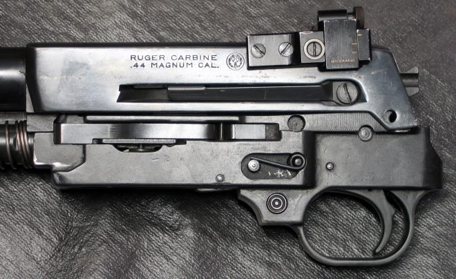 Installing trigger assembly on Ruger Model 44. (Photo © Russ Chastain)