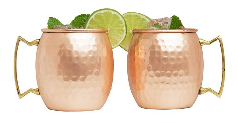 Advanced Mixology set of two Moscow mule 100 per cent 16 ounce barrel copper mugs
