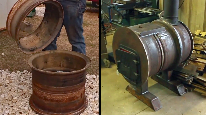 Watch: Making a Wood Stove From Old Wheels