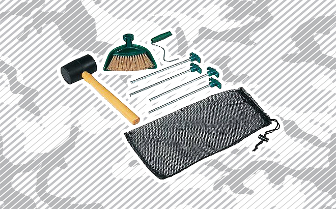 Coleman tent accessory kit on urban camo background