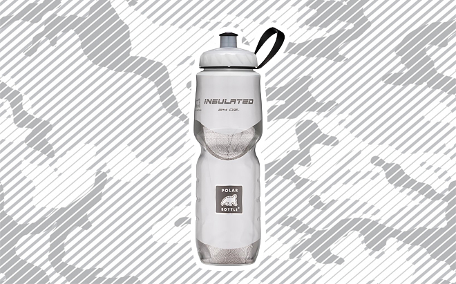 Polar Bottle insulated water bottle on urban camo background