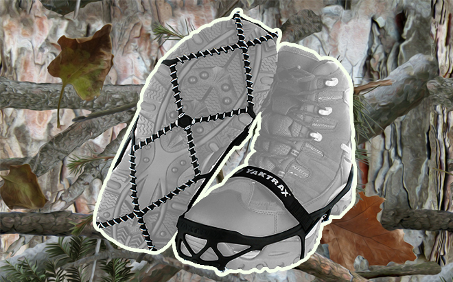 YakTrax Pro traction cleats on realistic 3D forest camo background
