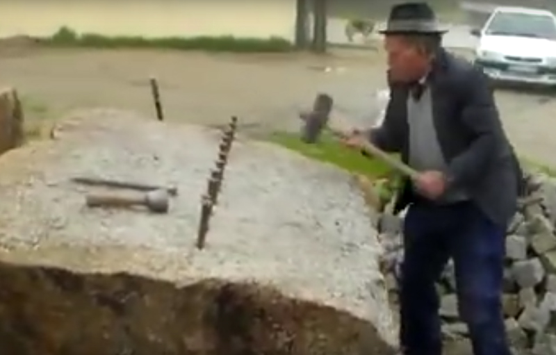 Watch: 86-Year-Old Splits Huge Granite Block with Hand Tools