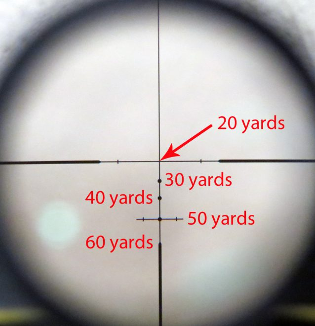A more complex reticle, in a crossbow scope. Scopes like this allow you to compensate for your projectile's drop (similar reticles are available for firearms). Photo © Russ Chastain