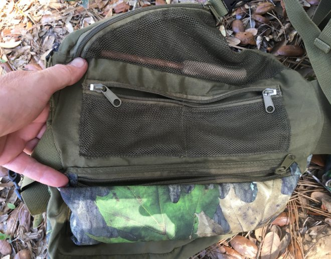 Inside of right side has a triangular mesh pocket, two smaller mesh pockets, and a long horizontal pocket. (Photo © Russ Chastain)