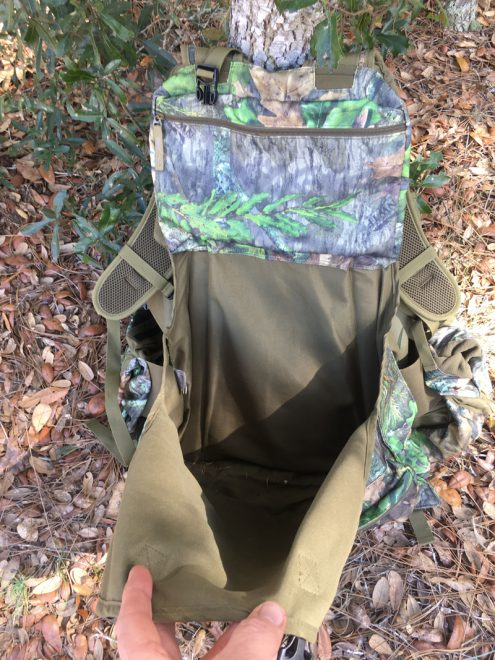 Generous rear pouch with quick-release buckles at the top, for decoys or carrying out your kill. (Photo © Russ Chastain)