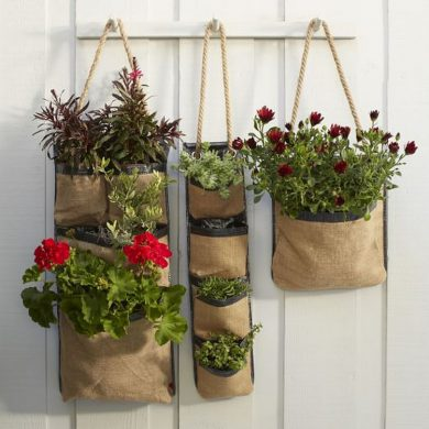 Note - NOT my hanging planters. But I didn't take a photo, so this is close. Photo courtesy of: https://www.recycled-things.com/crafts/unique-diy-hanging-planters-you-can-easily-make-at-home/