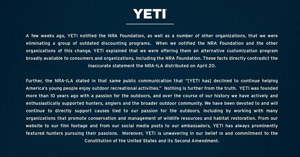 Yeti Doesn't Hate the NRA!