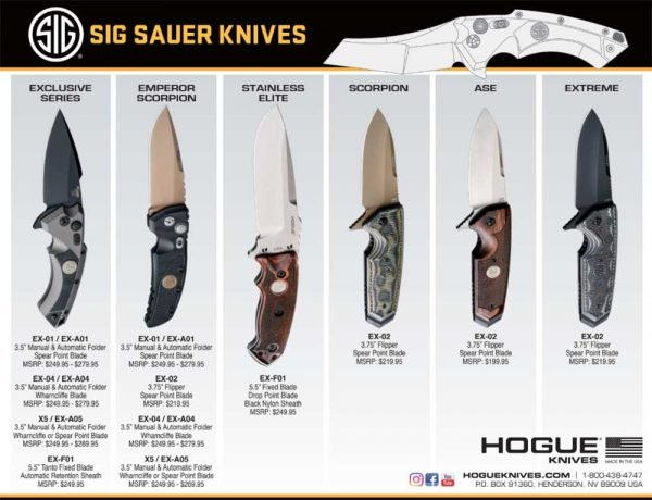 Display of Sig Sauer-branded knives available from Hogue.
