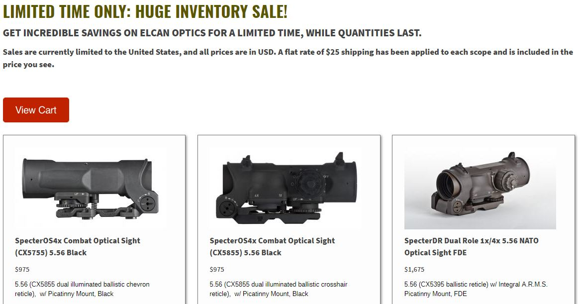 ELCAN Optics Limited Time Inventory Sale!!!