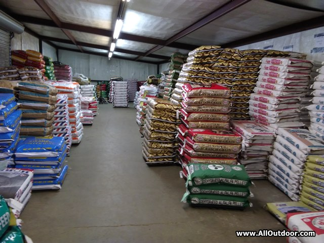 Livestock feed in a warehouse