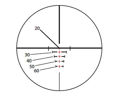 VXR-M range-compensating reticle. Numbers indicate yardage.
