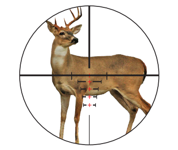 Ranging a deer with the VXR-M range-compensating reticle.