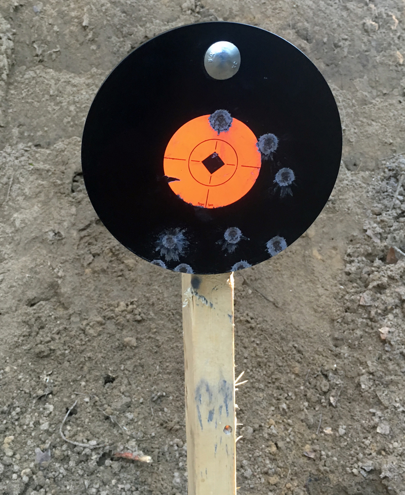 "Birchwood Casey 8"" Round 3/8"" AR500 Steel Gong after a few shots."