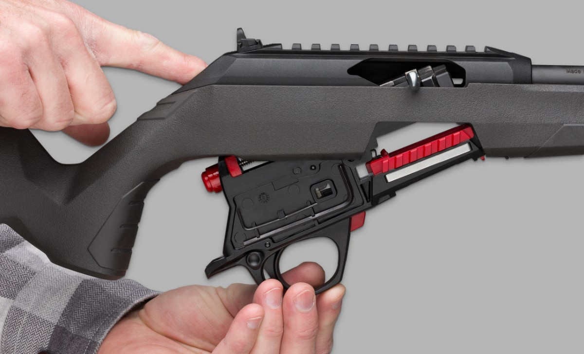 Push one button to release the lower receiver assembly from the Wildcat's stock.