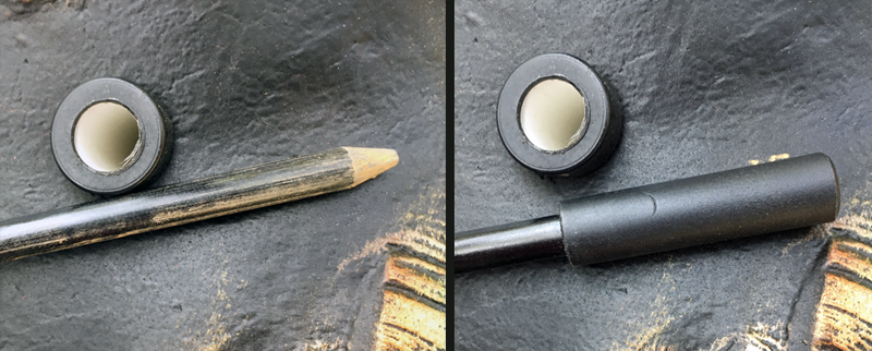 Bottom (left) and top (right) ends of stake, shown next to stake hold in decoy.