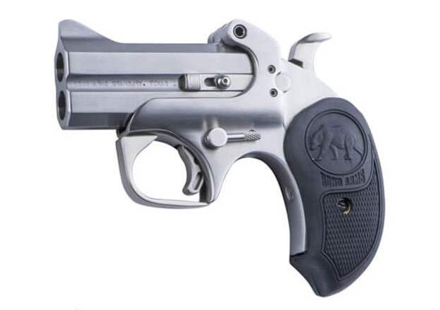 "The Papa Bear from Bond arms has a 3"" barrel, just barely long enough to accept a 410 shotgun shell. MSRP is $560."