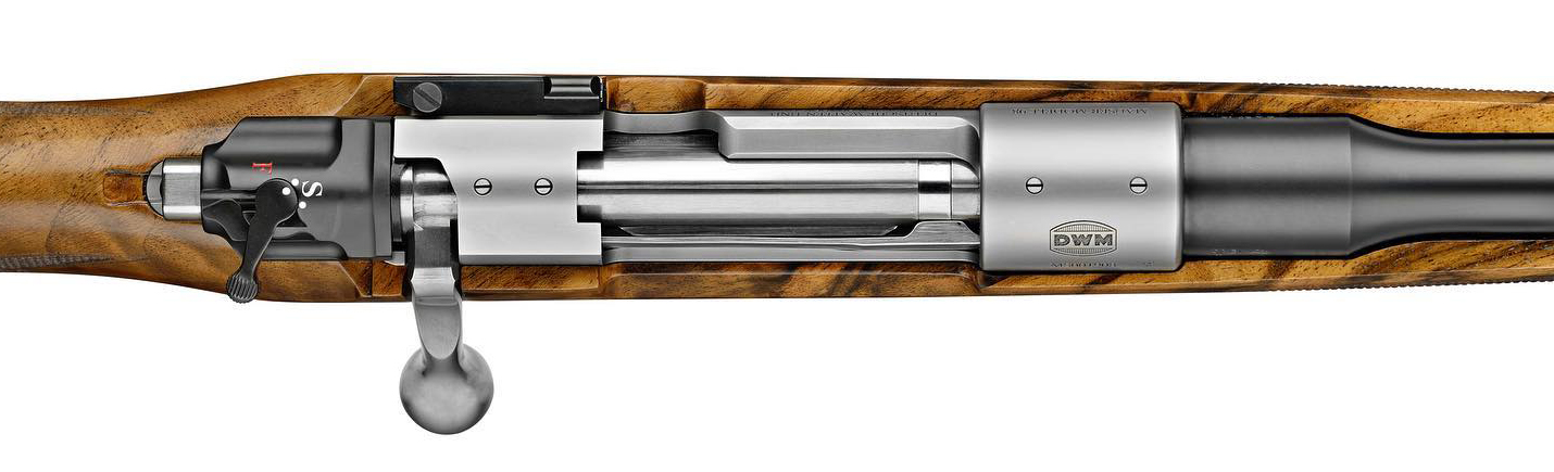 Top view of new DWM Mauser 98 bolt action. The safety is an ugly departure from the original.