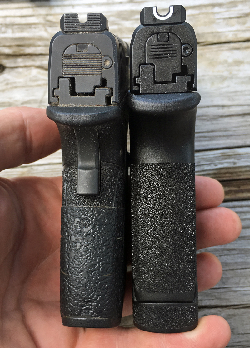 Springfield Armory XD-S Mod.2 3.3 left, Hellcat right. (Photo © Russ Chastain)