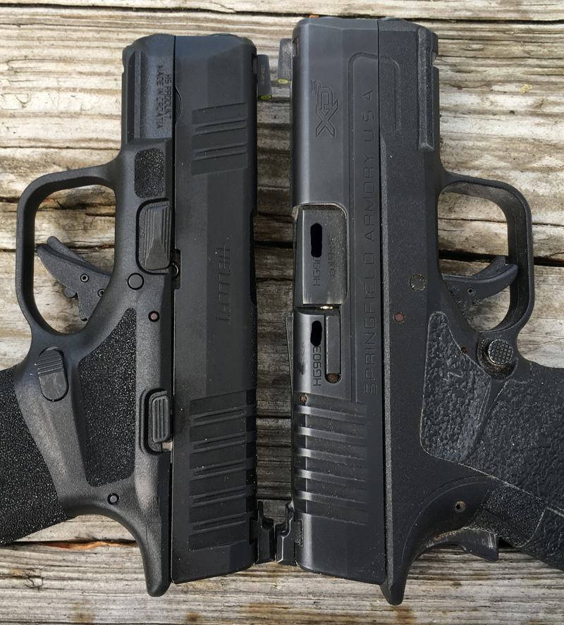 Springfield Armory Hellcat left, XD-S Mod.2 3.3 right. (Photo © Russ Chastain)