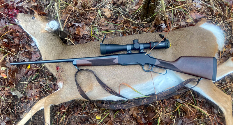 Henry Long Ranger 6.5 Creedmoor with the deer it took. Exit wound is visible. (Photo © Russ Chastain)