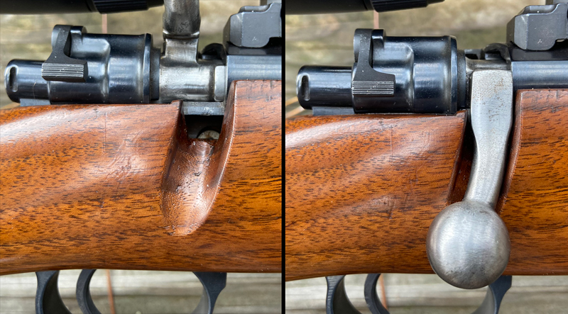 Original bolt handle was cut off and welded back on for scope clearance; stock was inletted for it. (Photo © Russ Chastain)