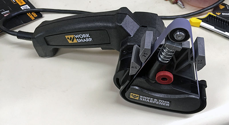 Work Sharp Power Knife & Tool Sharpener with the outdoor/scissor guide. (Photo  Russ Chastain)