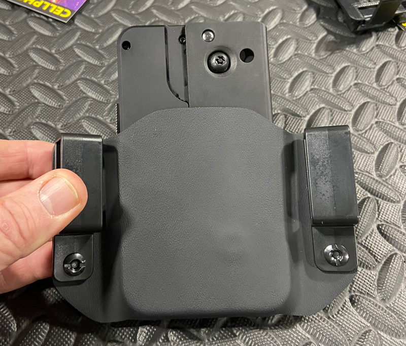 Back of cell phone pistol holster. (Photo © Russ Chastain)