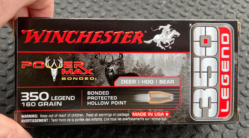New Load for the Winchester 350 Legend: 160-grain Power Max Bonded JHP. (Photo © Russ Chastain)