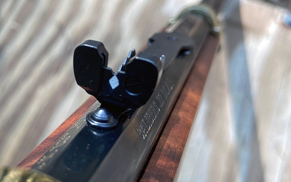 """The rear sight is called """"semi-buckhorn"""" and has a white diamond painted on. (Photo © Russ Chastain)"""