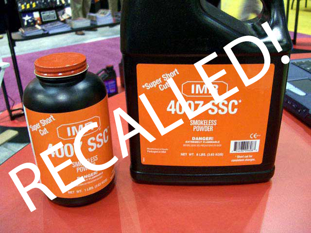 Reminder: Hodgdon IMR 4007 SSC Powder Recall