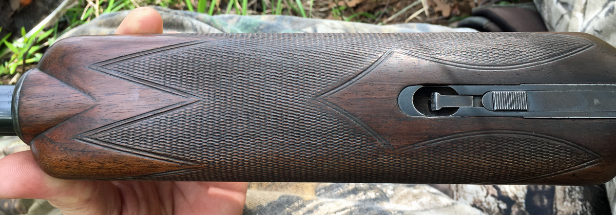 The forend is of the beavertail type; wider on bottom than top. (Photo © Russ Chastain)