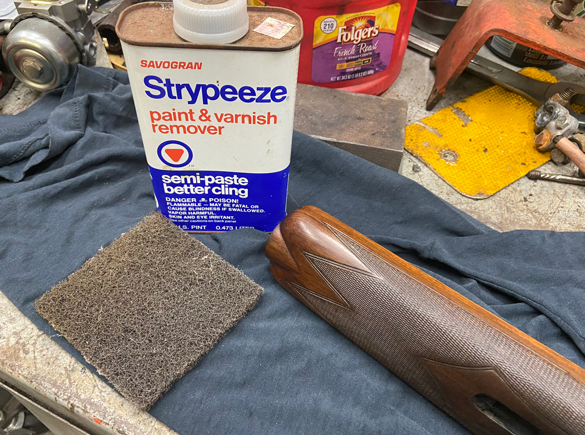 Never sand the finish off of a gun stock. Always strip the old finish instead. The less wood you remove, the better. (Photo © Russ Chastain)