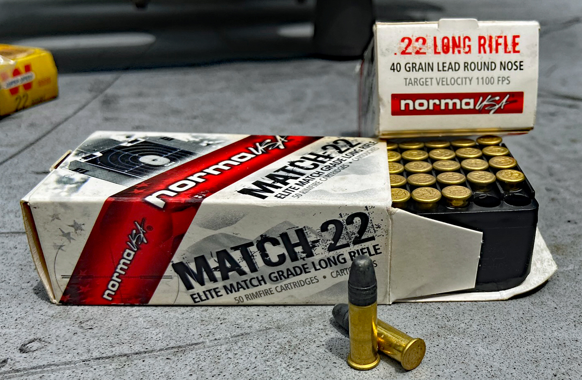 Norma USA Match-22 40-grain lead round nose target load rated at 1100 FPS. (Photo © Russ Chastain)