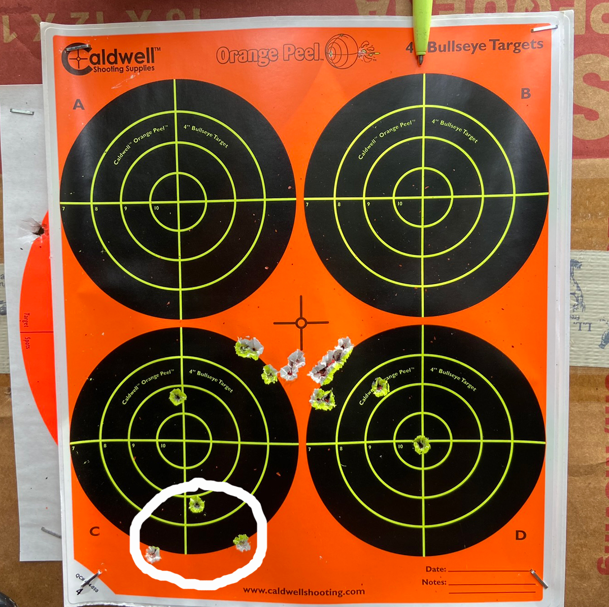 Ignore the three circled bullet holes. Point of aim was top of top right bull as indicated by pen point. (Photo © Russ Chastain)