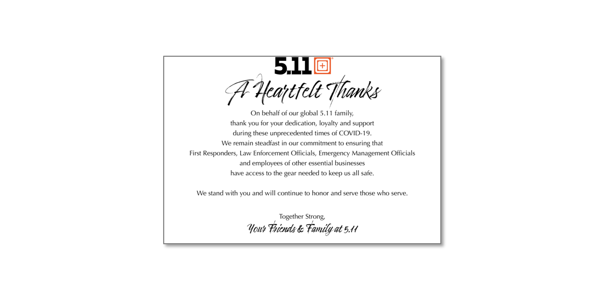 5.11 Tactical is Offering 20% to All Frontline Heroes in Thanks