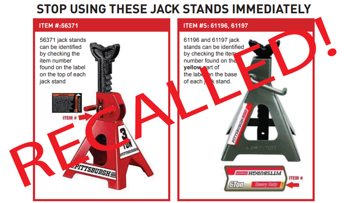Harbor Freight Recalls Jack Stands Which May 'Drop Suddenly'