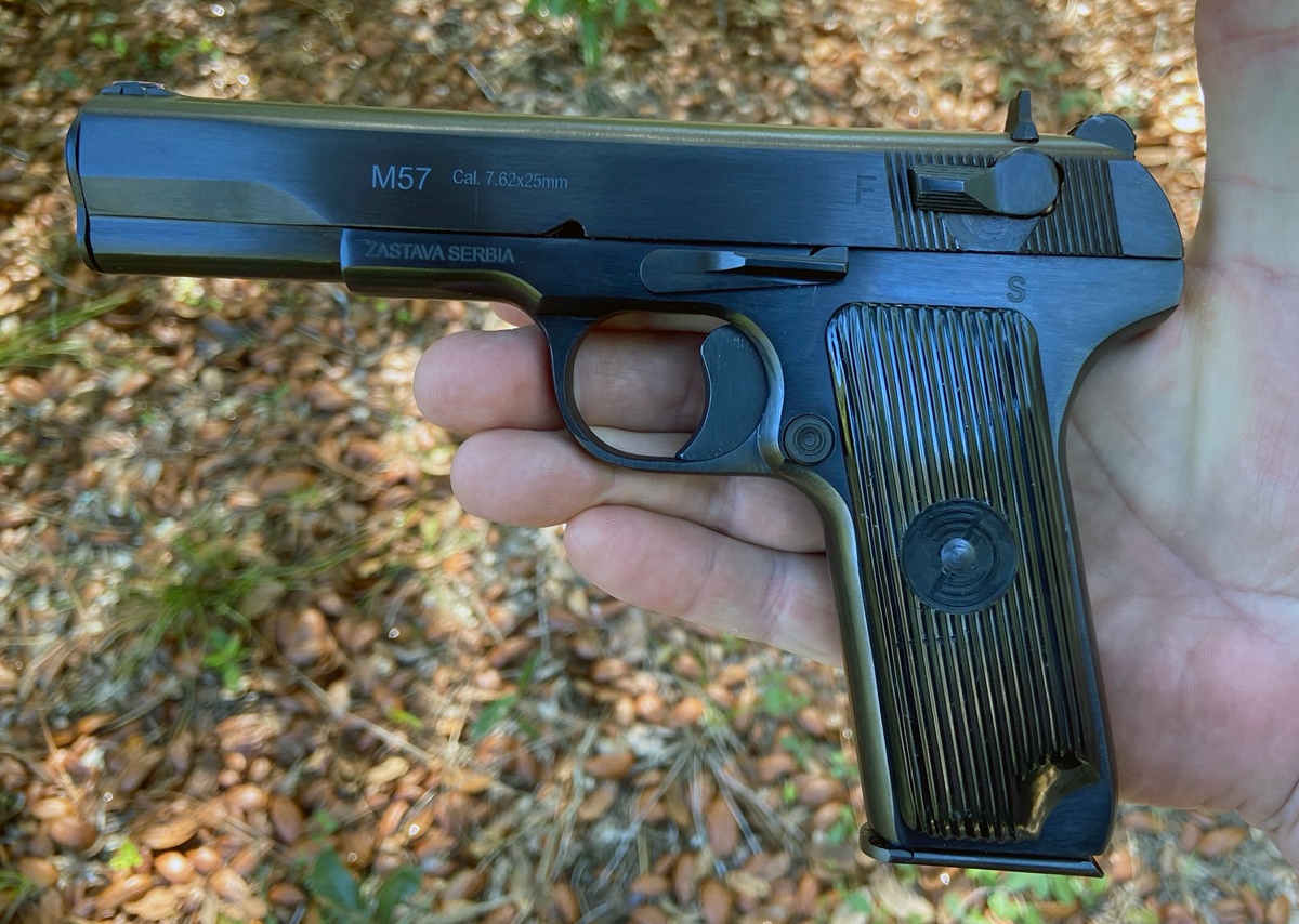 This M57 has numerous similarities to the Colt 1911. (Photo © Russ Chastain)