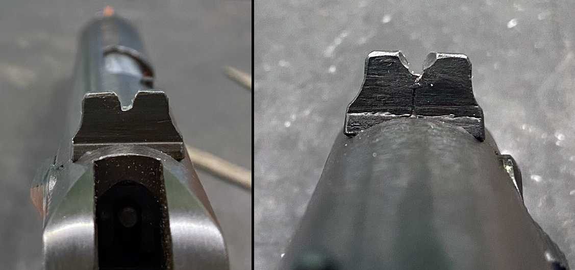 This is the crooked notch from rear (left) and front (right), exactly as it appeared after I removed the hunk o' crud. (Photo © Russ Chastain)